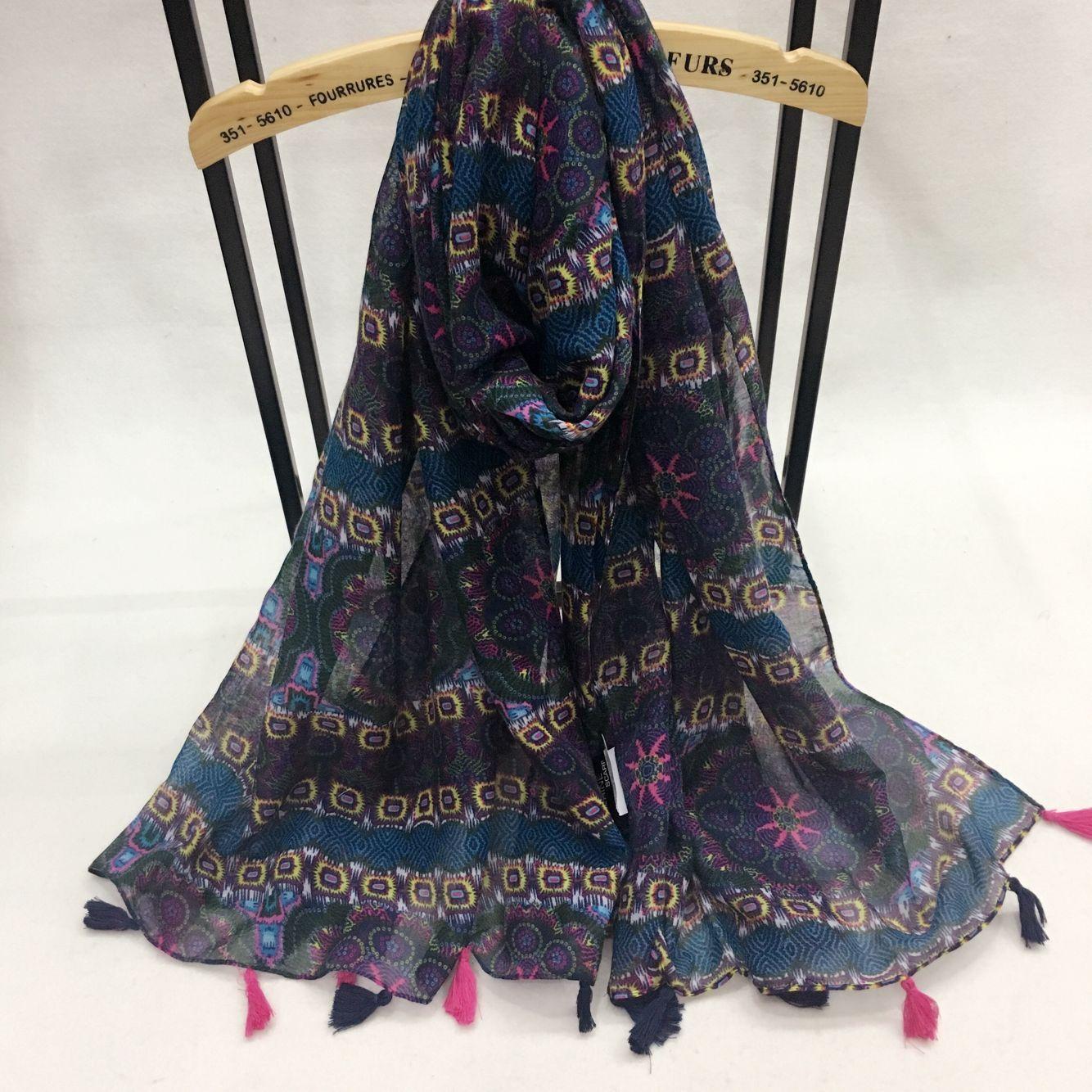 新款金属链条系列巴厘纱围巾