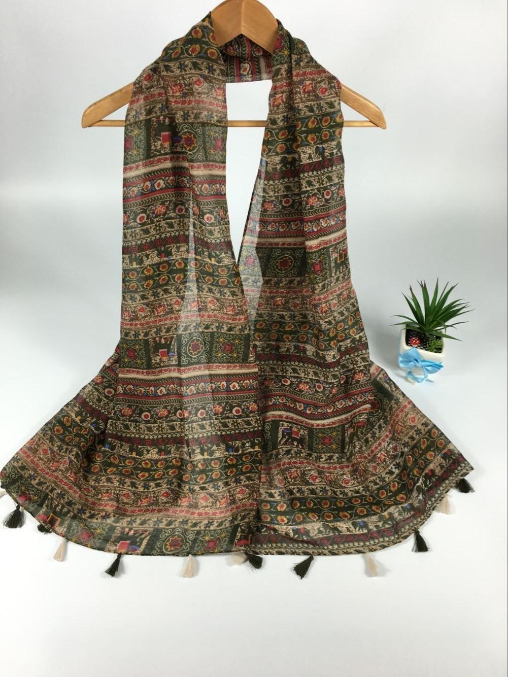 新款墨绿色大象巴厘纱围巾