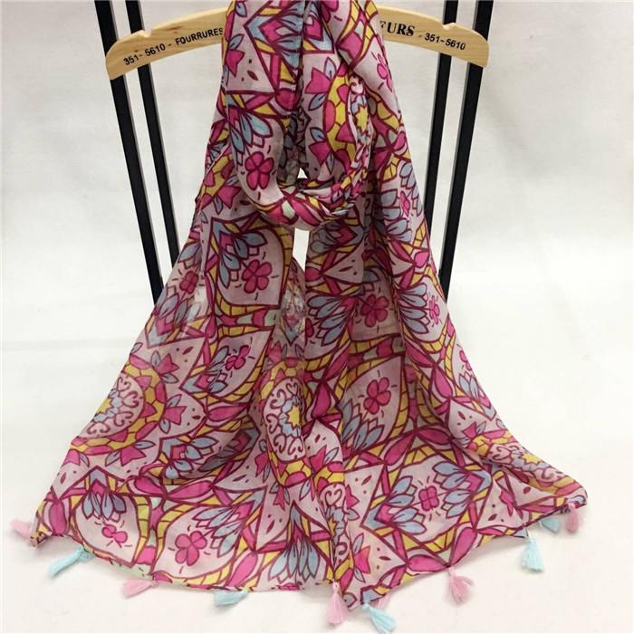 新款小红花系列巴厘纱围巾