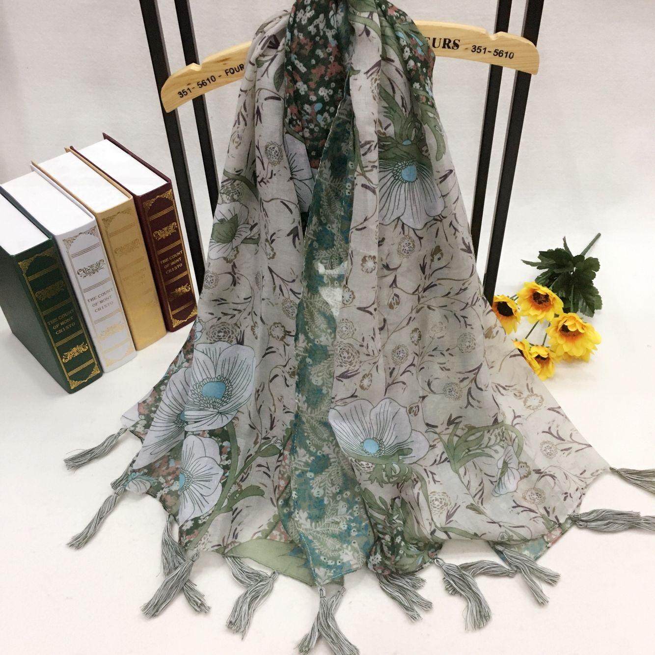 新款百合花系列巴厘纱围巾