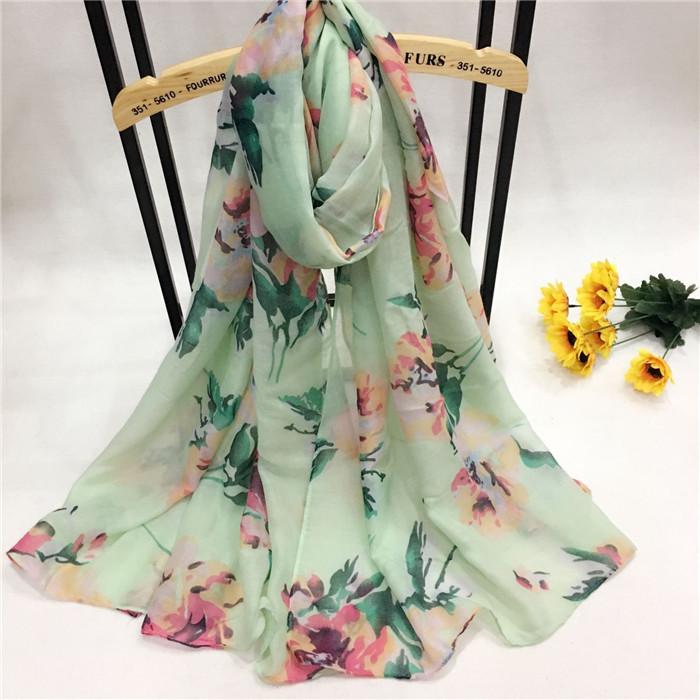 牡丹花巴厘纱围巾