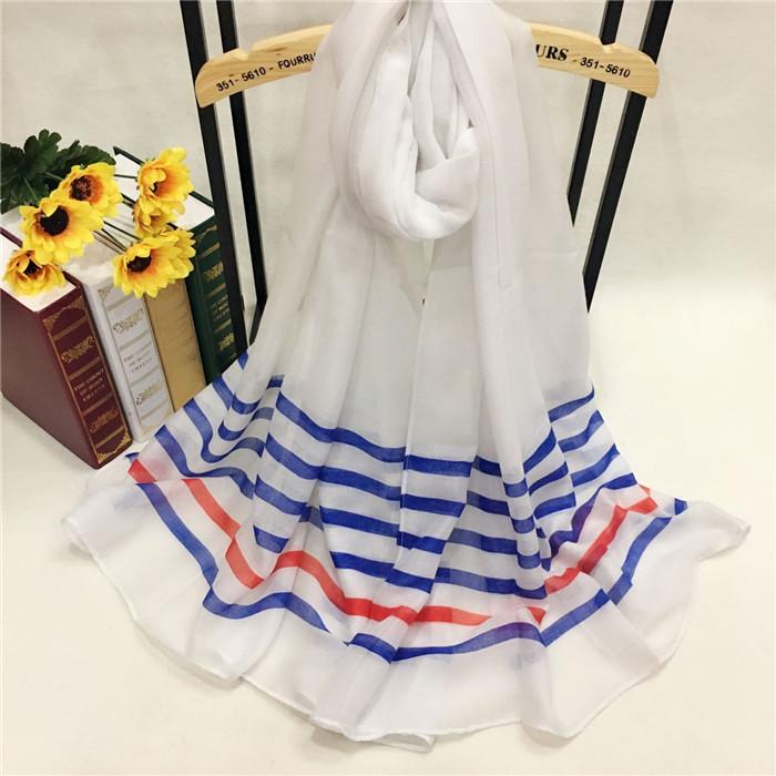 秋冬款红蓝条纹巴厘纱围巾