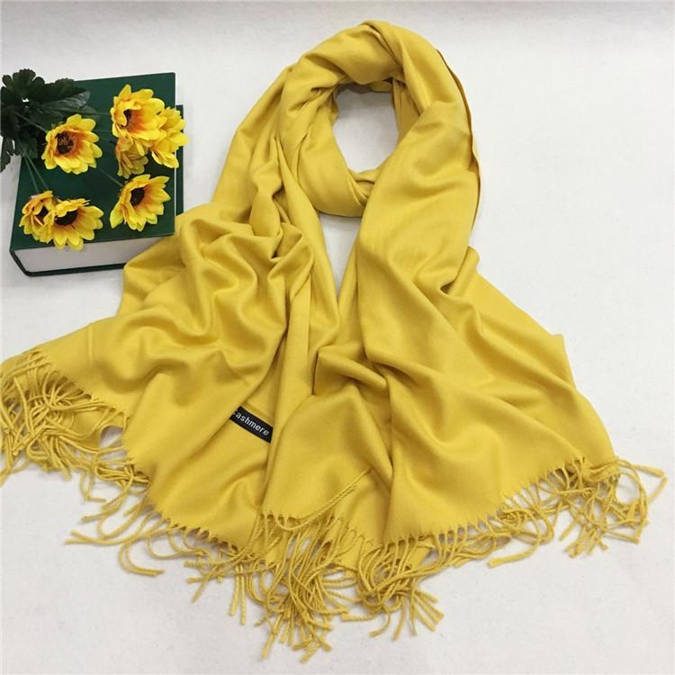 仿羊绒围巾厂家定制—姜黄色YFYR-6
