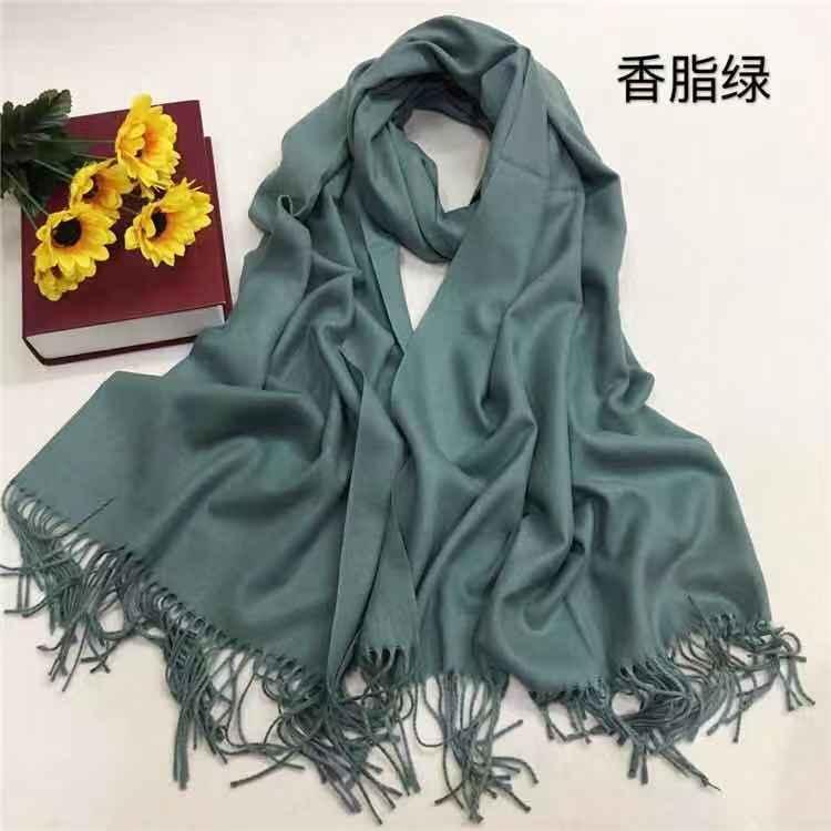 仿羊绒围巾厂家定制—香脂绿YFYR-15